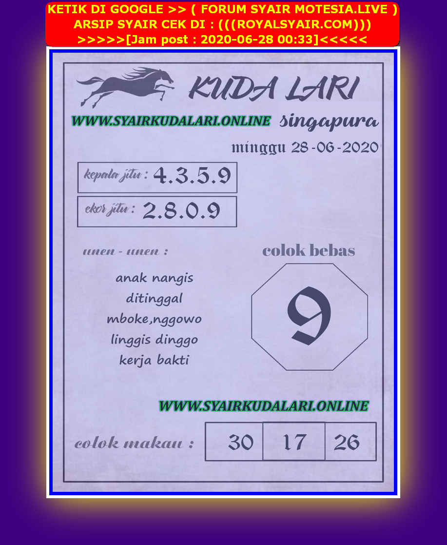 Kode syair Singapore Minggu 28 Juni 2020 193