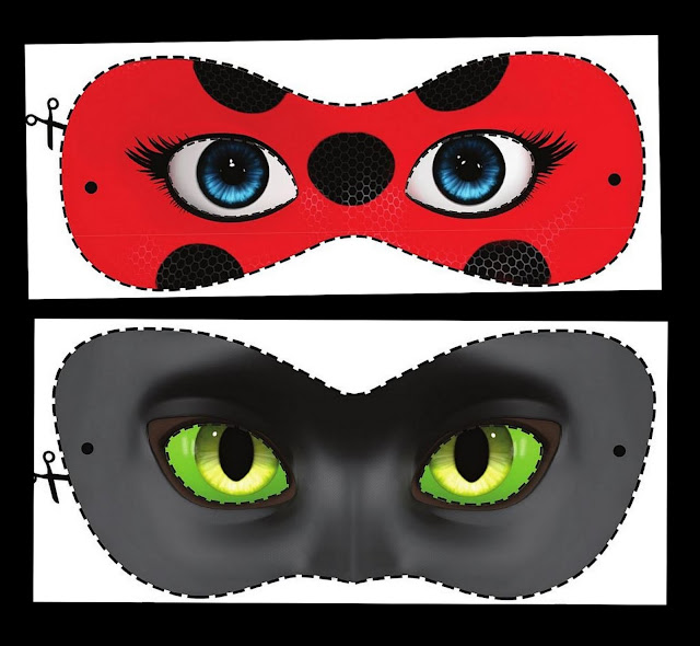 Free Printable Miraculous Ladybug and Cat Noir Masks.