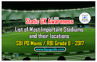 Static GK Awareness- List of Most Important Stadiums and their locations Expected GK Topic for SBI PO Mains / RBI Grade B - 2017