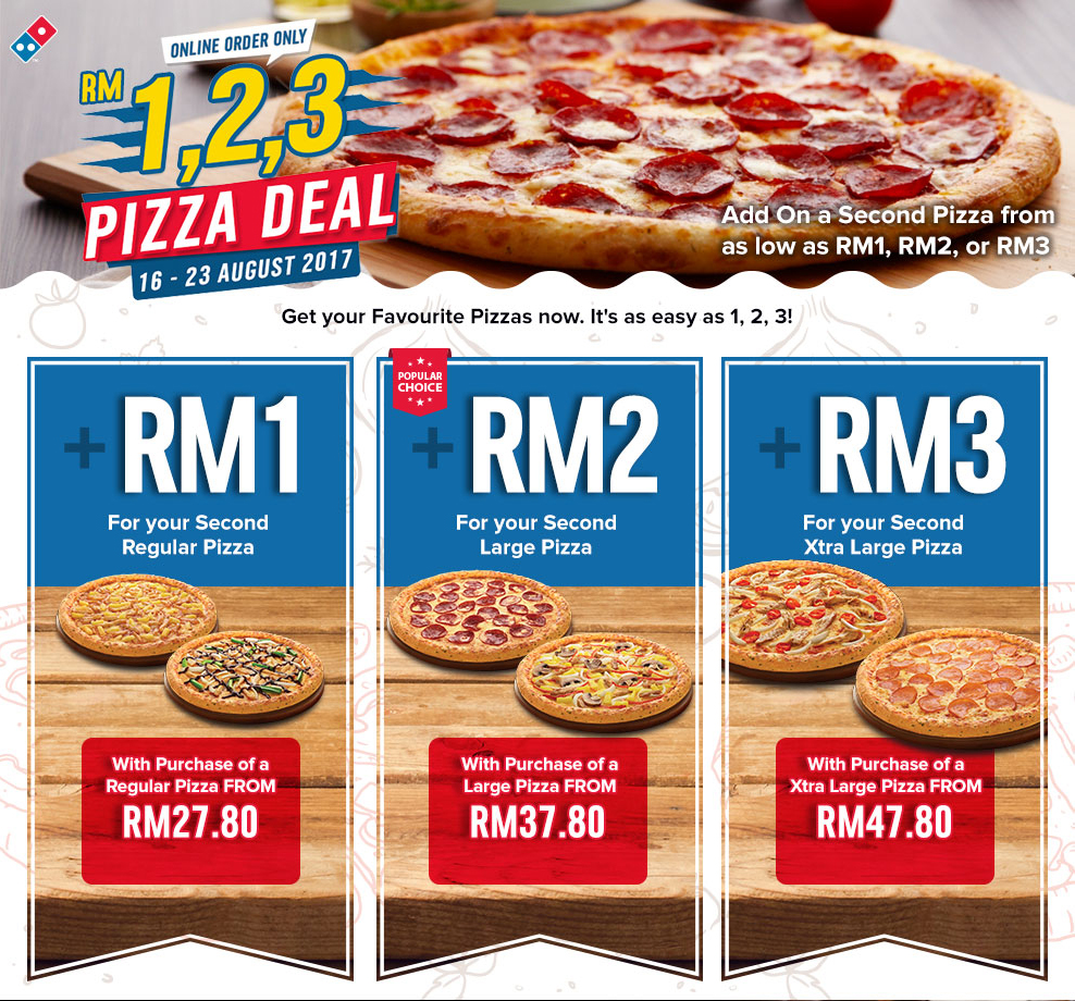 Dominos pizza online order - Second Domino S Pizza Rm1 When You Buy Regular Pizza Online Rm27 80 Until 23 August 2017