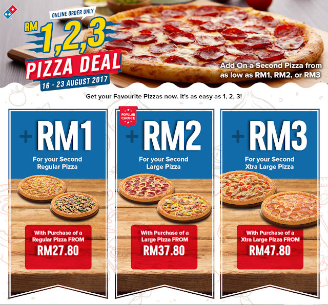 Second Domino's Pizza RM1 When You Buy Regular Pizza Online RM27.80 Until 23 August 2017