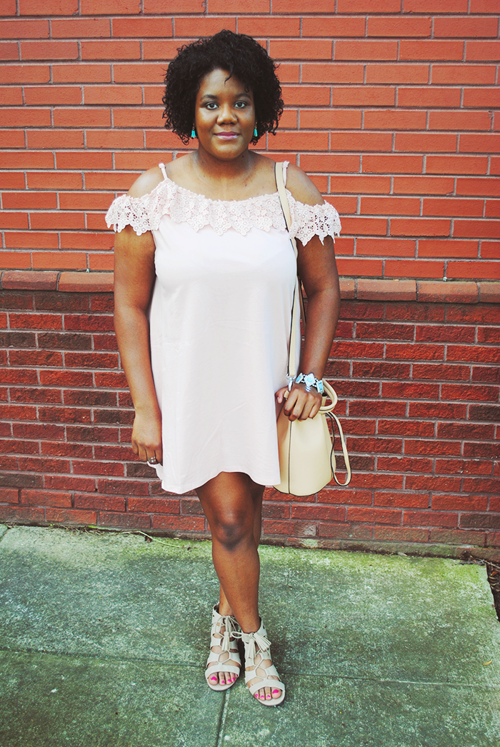 A spring fashion post featuring an off shoulder dress from ASOS, tassel lace-up flats from Sam & Libby, and bucket bag from Forever 21.