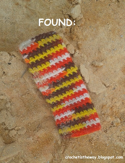 crochet, mystery item, cover, pouch, found, construction site, Rip van Winkle