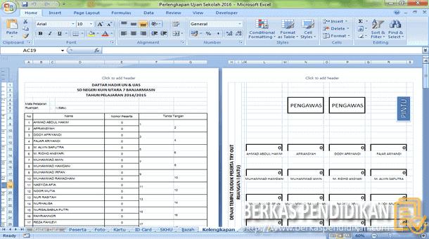 Aplikasi Perlengkapan Administrasi Ujian Sekolah SD