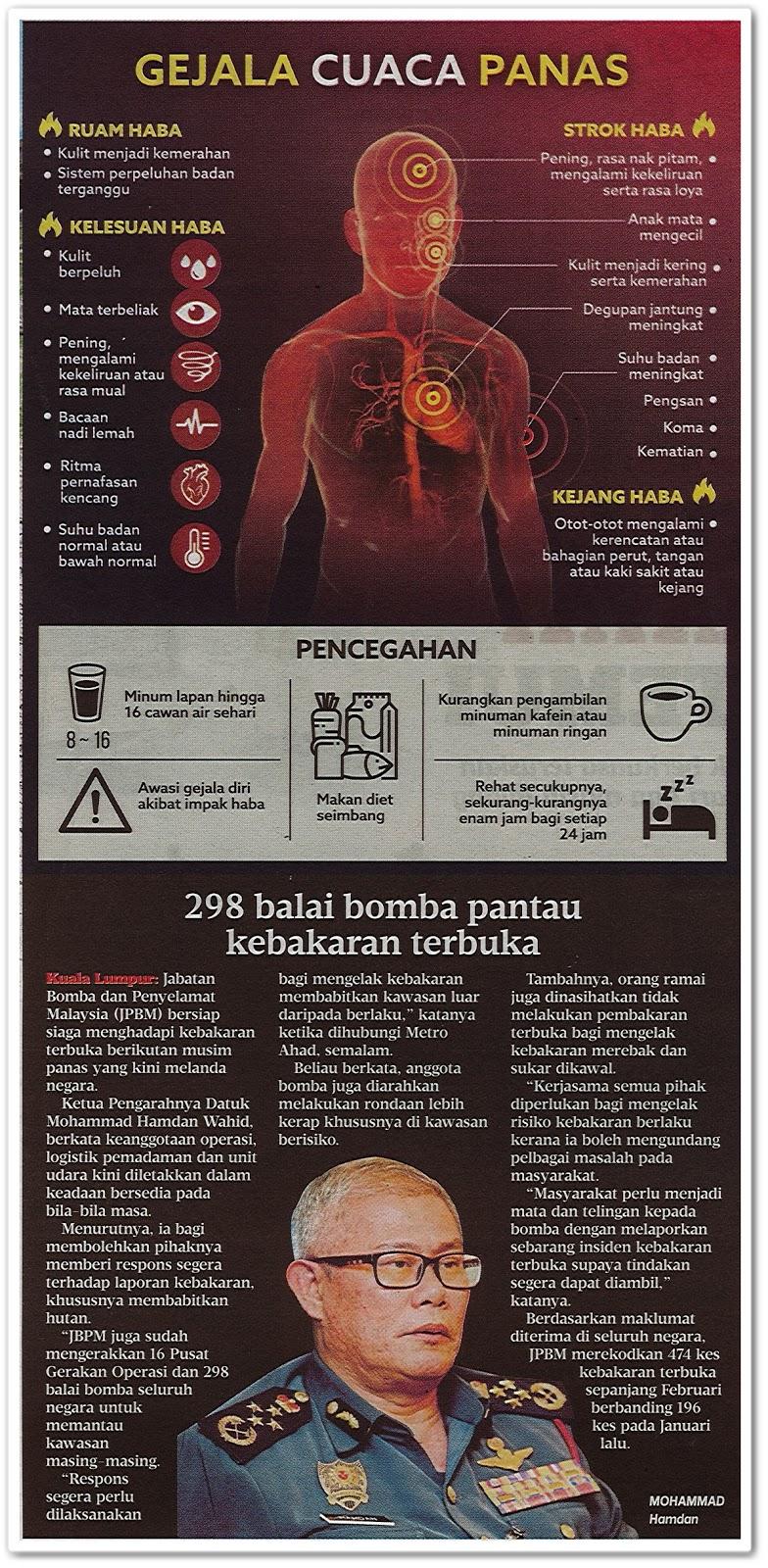 298 balai bomba pantau kebakaran terbuka - Keratan akhbar Metro Ahad 3 Mac 2019
