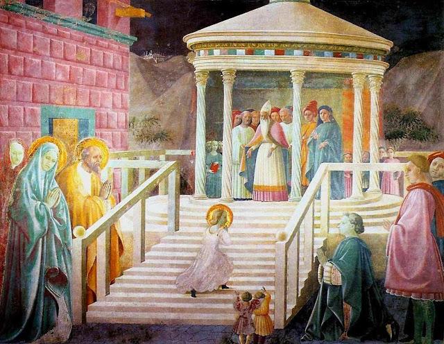 Apresentação de Nossa Senhora. Nossa Senhora menina sobe a escada do Templo Paolo Uccello (1397 — 1475)
