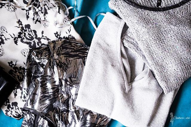 srebrne bluzki i sukienki