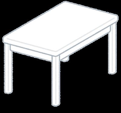 白いテーブルのイラスト(斜め)