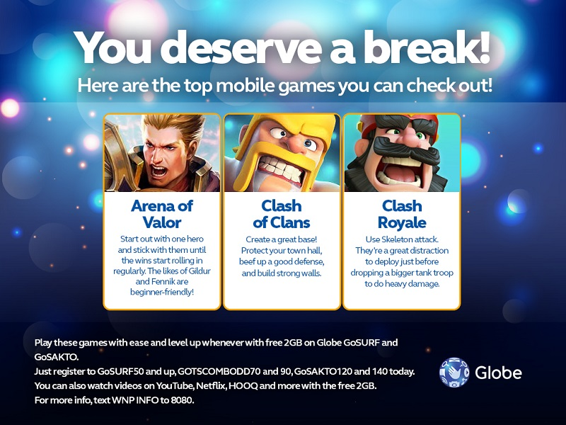 Get 2GB of data for games and videos by registering these 4 prepaid codes from Globe!