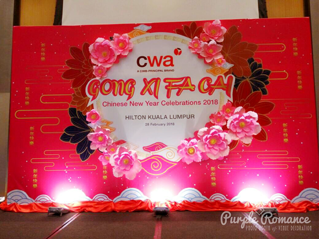 chinese new year backdrop, kuala lumpur, selangor, malaysia, vendor, photo booth, stage backdrop, setup, contractor, giant paper flower, diy, sakura paper flower, cherry blossom, lunch, annual dinner, decoration, decor, elegant, red, theme, hilton hotel kl, kl sentral, ballroom, hall