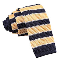 MENS KNITTED PALE LEMON YELLOW, NAVY BLUE WITH WHITE STRIPES TIE