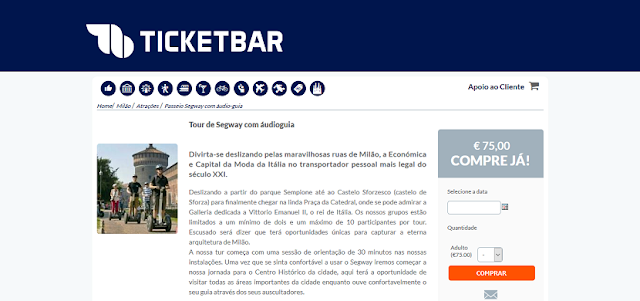 Ticketbar para ingressos para o tour de Segway com audioguia em Milão