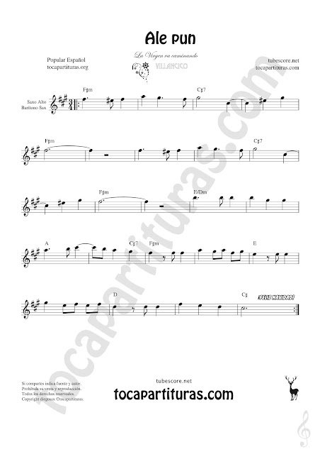 Saxofón Alto y Sax Barítono Partitura de Ale Pun Sheet Music for Alto and Baritone Saxophone Music Scores