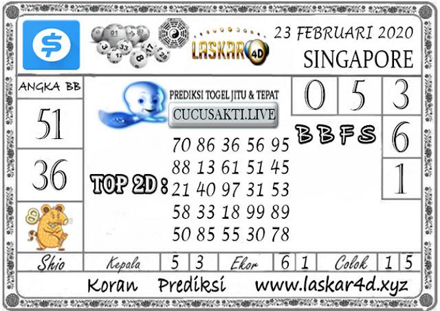 Prediksi Togel SINGAPORE LASKAR4D 23 FEBRUARI 2020