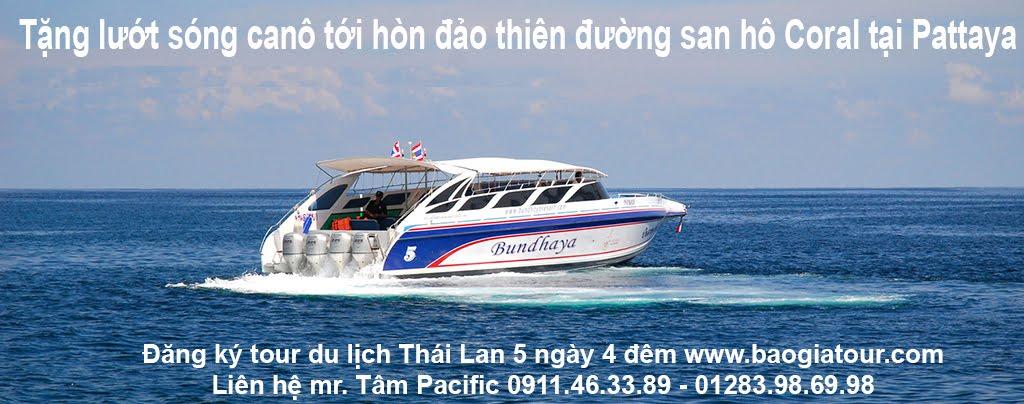 Tặng lướt sóng canô tới hòn đảo thiên đường san hô Coral tại Pattaya