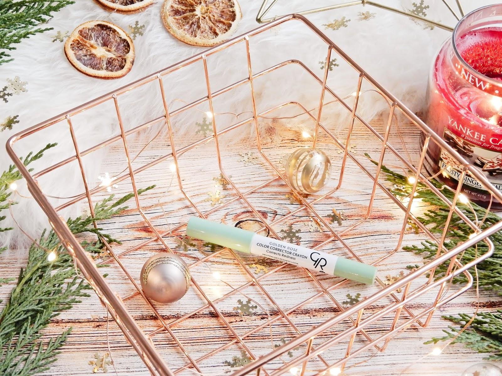 Golden Rose Color Corrector Crayon Kamuflujący korektor w kredce, zielony korektor, zielona kredka, ukrywanie zaczerwienień, świąteczny makijaż z Golden Rose,