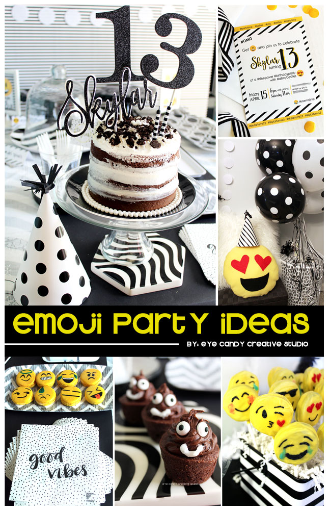 emoji party ideas, emoji sleepover, teen birthday, emojis, emoji party