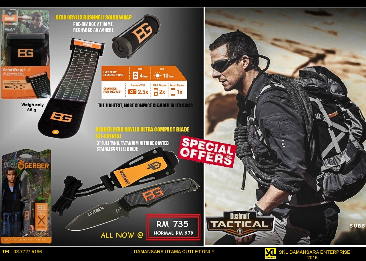 Great Saver!!! Bear Grylls latest Solar Charger & BG Ultra compact Knife now at RM 735
