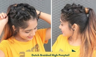 Easy Dutch Braided High Ponytail Hairstyle / Ponytail For School / college