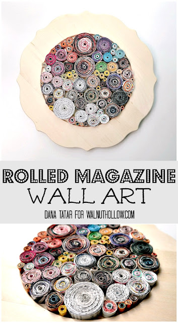 Rolled Magazine Wall Art Tutorial by Dana Tatar for Walnut Hollow
