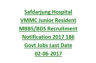 Safdarjung Hospital VMMC Junior Resident MBBS, BDS Recruitment Notification 2017 186 Govt Jobs Last Date 02-06-2017