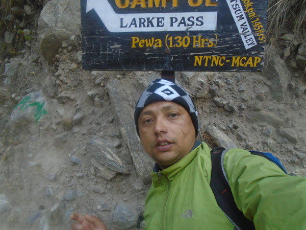 Naba Thapa, local trekking guide of the Manaslu trekking region.