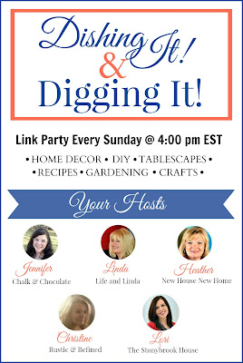Blogging link party on sunday to showcase bloggers home decor, gardening, recipes, tablescapes and do it yourself projects.