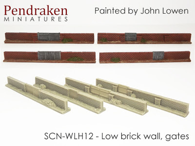 SCN-WLH12   Low brick walls, gates (4 pieces)