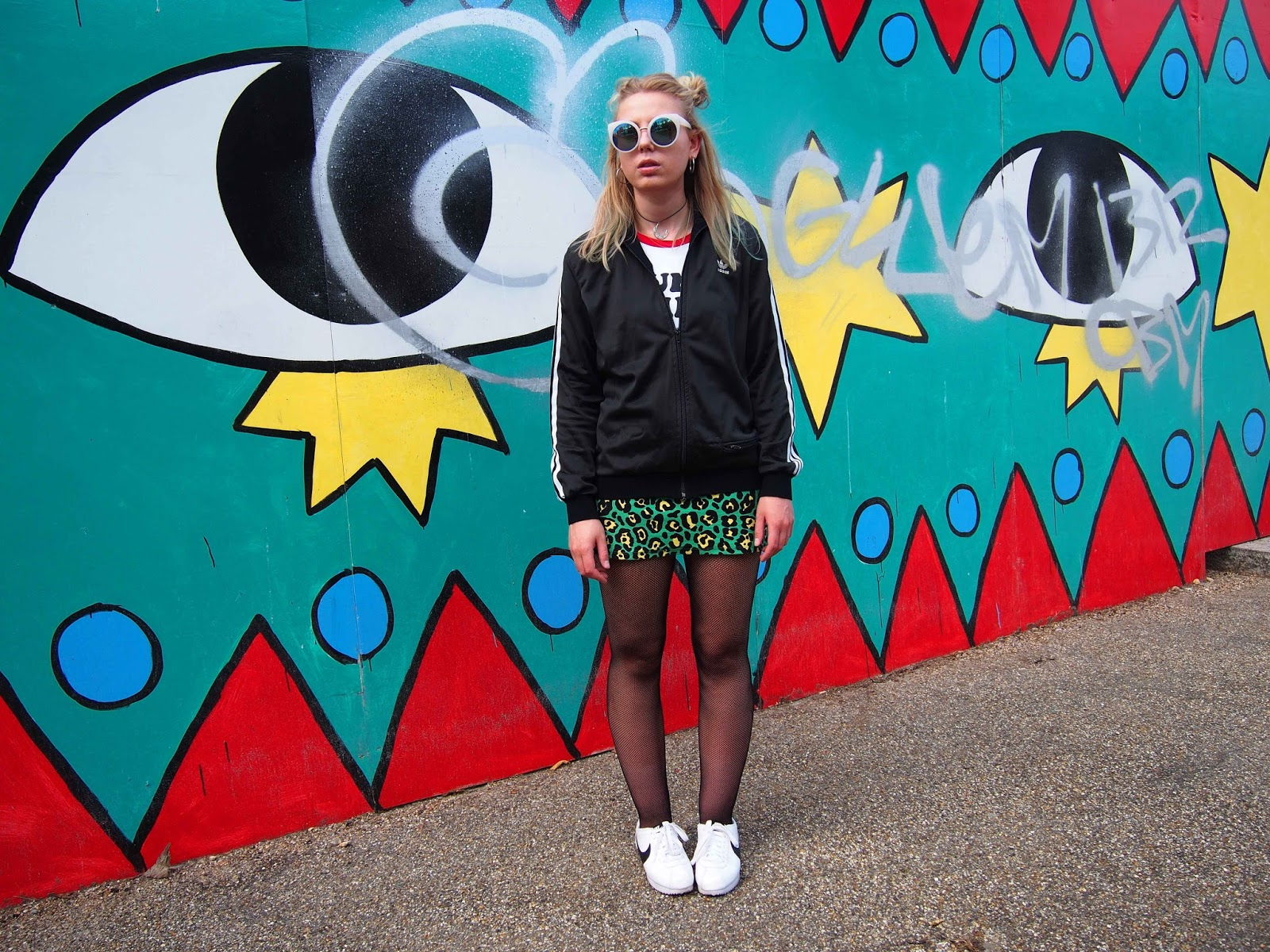 alternative unique fashion personal style inspiration, autumn outfit ootd, nike cortez, adidas firebird jacket, colourful leopard print skirt, ringer tee, grunge 90's fashion style, choker, space buns 1