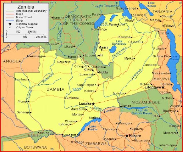 Gambar Peta Zambia