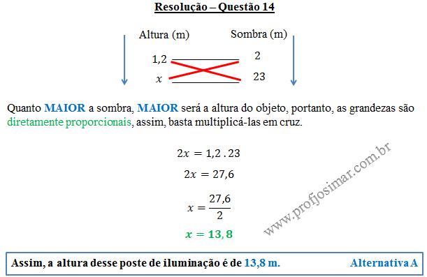 Questão 14 - Regra de 3 simples
