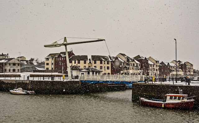 Photo of Ellen Footbridge at Maryport harbour in the snow