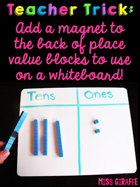 Add a magnet to the back of base 10 blocks so you can use them to teach on the whiteboard or in other fun place value activities