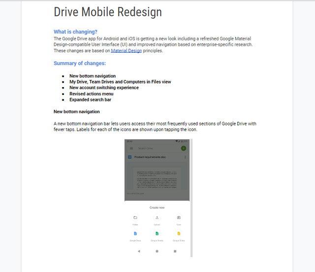"""Google Chrome tarayıcı yeni sekmede açılan Dokümanı """"Drive Mobile Redesign"""" kendi dilinizde okuyamayacaksınız."""