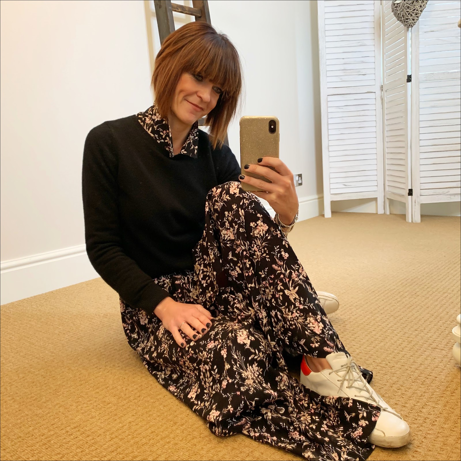 my midlife fashion, amazon find multicoloured off the shoulder shirt dress, boden cashmere crew neck jumper, golden goose superstar low top leather trainers, and other stories leather waist buckle belt