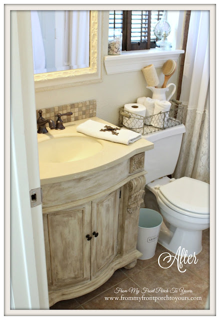 Farmhouse Guest Bathroom-DIY Remodel-Custom Vanity-Chalk Paint- From My Front Porch To Yours
