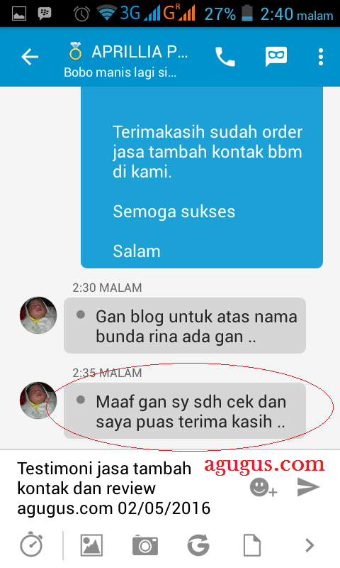 Testimoni Jasa Tambah Kontak BBM agugus.com