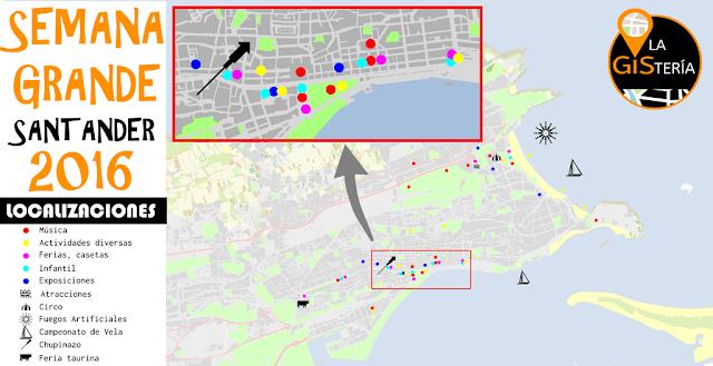 Mapa de localizaciones de la Semana Grande de Santander 2016