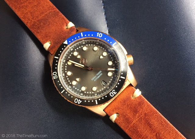 Zelos Mako bronze diver black and blue bezel leather strap