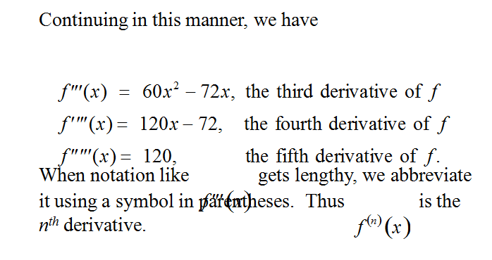 Higher Order Derivatives  & Concavity,  Find derivatives of higher order, Determine Concavity of a function, Find the relative extreme of a function using the Second-Derivative Test,