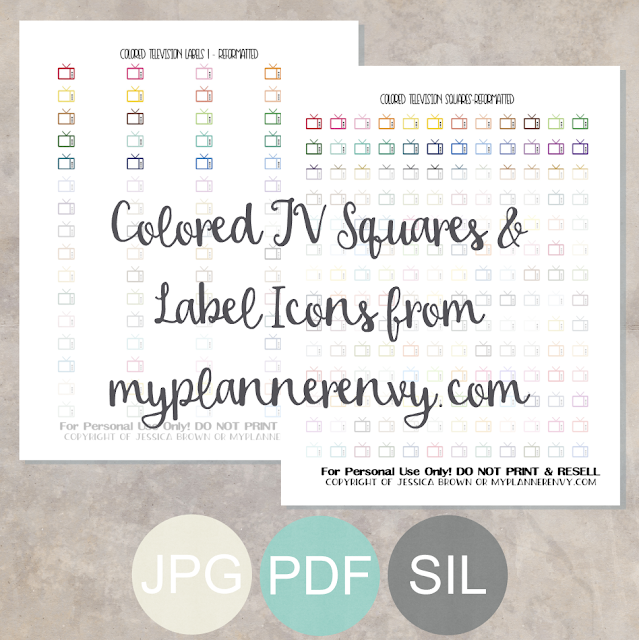 Free Printable Colored TV Squares and Labels from myplannerenvy.com