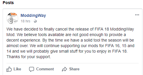 FIFA 18 ModdingWay Mod is Cancelled
