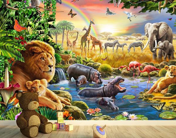 3D Tapetti Lasten Tapetti Eläimet Viidakko