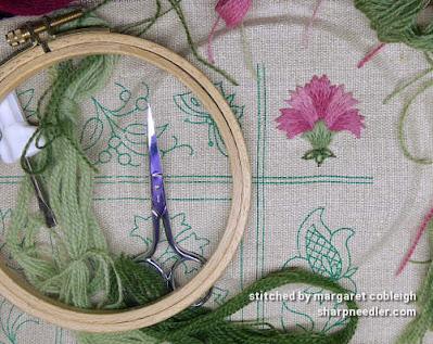 Crewel Sampler (by Elsa Williams): Completed carnation motif