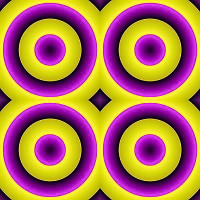 Mor renkli dört çemberin birine baktıkça diğerleri genişliyor