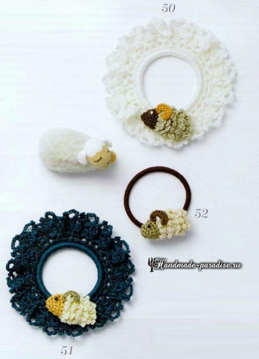 Схемы вязания крючком резиночек для волос (8)