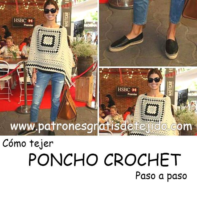 Poncho Rectangular a Crochet / Paso a paso | Patrones para Crochet