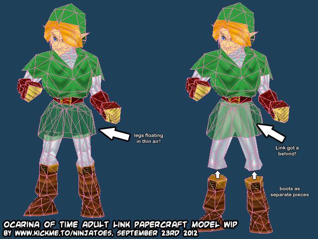 papercraft legend of zelda the ocarina of time menu link wip 3