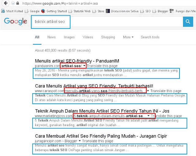 Hasil Pencarian Teknik Artikel SEO