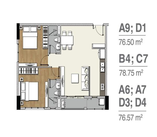 Mặt bằng căn hộ Florita 2 phòng ngủ